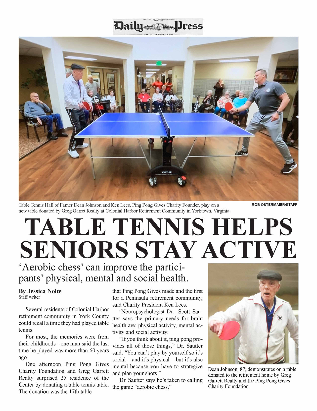 """Why has Dr. Sautter taken to referring to table tennis as """"aerobic chess?"""""""